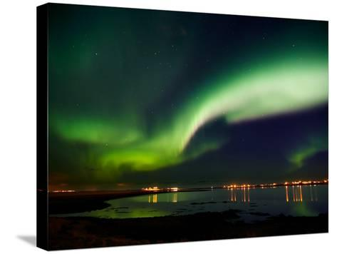 Aurora Borealis in the Sky, Alftanes, Reykjavik, Iceland--Stretched Canvas Print