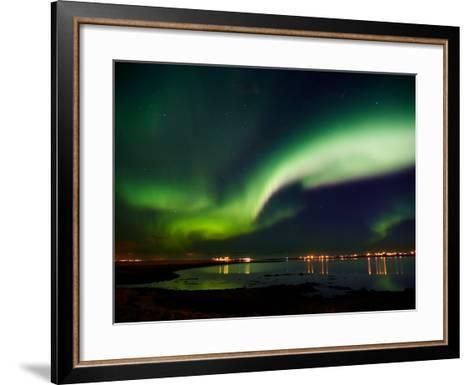 Aurora Borealis in the Sky, Alftanes, Reykjavik, Iceland--Framed Art Print