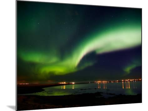 Aurora Borealis in the Sky, Alftanes, Reykjavik, Iceland--Mounted Photographic Print