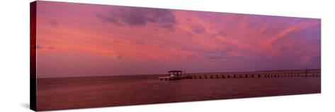 Pier over the Sea, Bokeelia Pier, Bokeelia, Pine Island, Florida, USA--Stretched Canvas Print