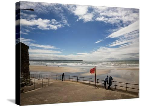 Promenade, Beach and Distant Brownstown Head, Tramore, County Waterford, Ireland--Stretched Canvas Print