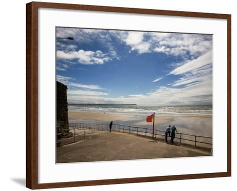 Promenade, Beach and Distant Brownstown Head, Tramore, County Waterford, Ireland--Framed Art Print