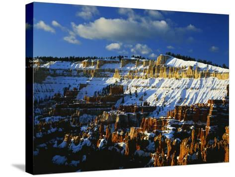 Snow Covered Cliffs and Hoodoos, Bryce Canyon National Park, Colorado Plateau, Utah, USA-Scott T^ Smith-Stretched Canvas Print