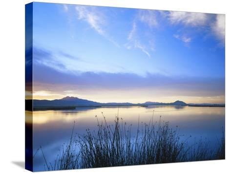 Cutler Reservoir on Bear River with Cirrus Fibratus at Sunset, Great Basin, Cache Valley, Utah-Scott T^ Smith-Stretched Canvas Print