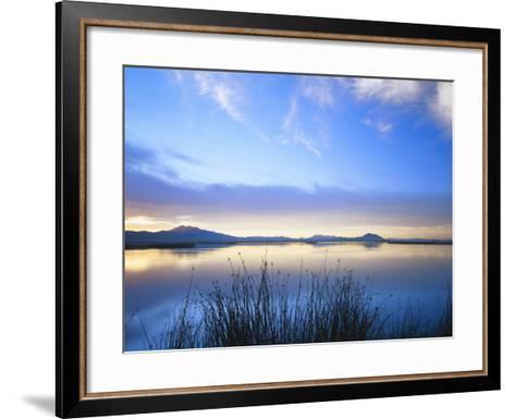 Cutler Reservoir on Bear River with Cirrus Fibratus at Sunset, Great Basin, Cache Valley, Utah-Scott T^ Smith-Framed Art Print