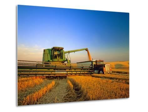 Farmer Unloading Wheat from Combine Near Colfax, Washington, USA-Chuck Haney-Metal Print