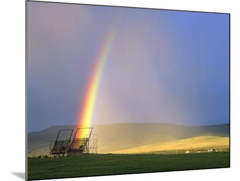 A Beaverslide Haystacker with Full Rainbow in the Big Hole Valley, Jackson, Montana, USA-Chuck Haney-Mounted Photographic Print