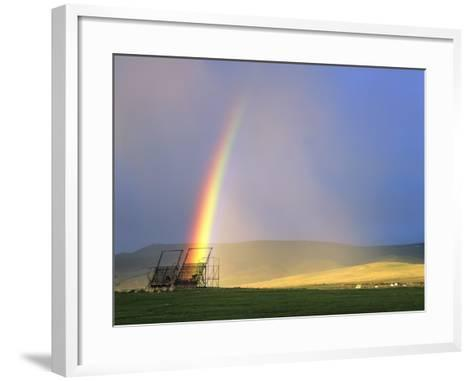 A Beaverslide Haystacker with Full Rainbow in the Big Hole Valley, Jackson, Montana, USA-Chuck Haney-Framed Art Print