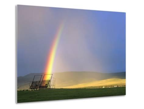 A Beaverslide Haystacker with Full Rainbow in the Big Hole Valley, Jackson, Montana, USA-Chuck Haney-Metal Print