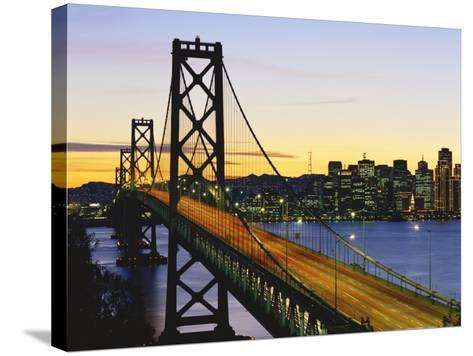 Oakland Bay Bridge at Dusk, San Francisco, California, USA-David Barnes-Stretched Canvas Print