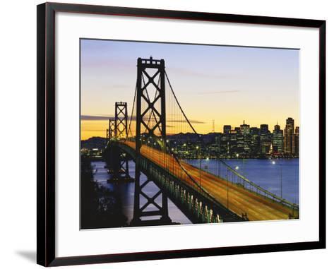 Oakland Bay Bridge at Dusk, San Francisco, California, USA-David Barnes-Framed Art Print