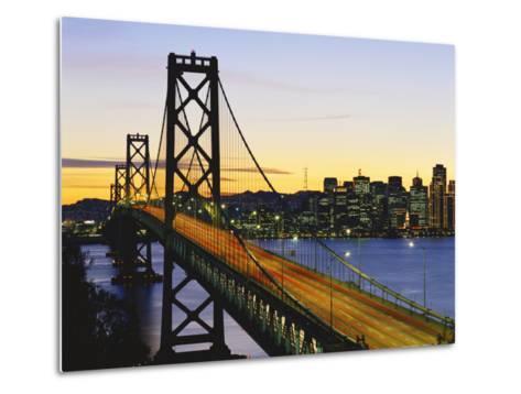Oakland Bay Bridge at Dusk, San Francisco, California, USA-David Barnes-Metal Print