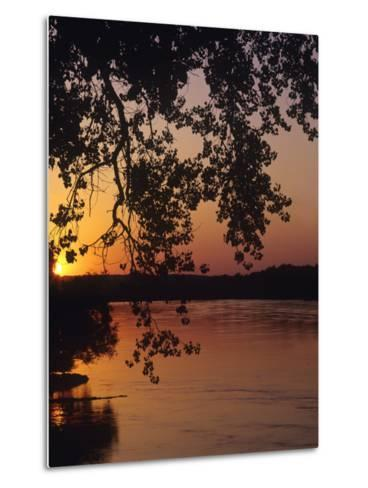 Sunset over the Missouri at Indian Cave State Park, Nebraska, USA-Chuck Haney-Metal Print