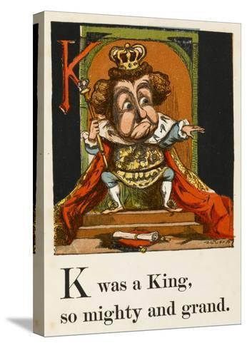 A Not Very Jolly King on His Throne in All His Regalia--Stretched Canvas Print
