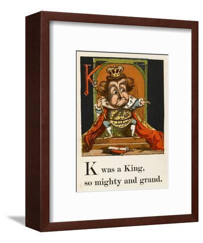 A Not Very Jolly King on His Throne in All His Regalia--Framed Art Print