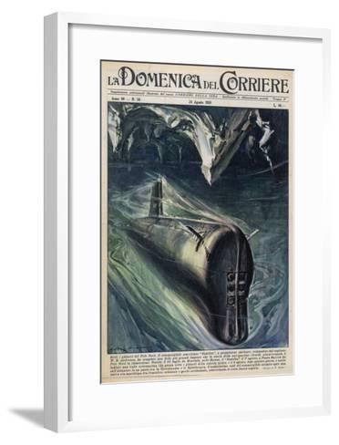 American Submarine 'Nautilus' Passes Below the North Pole--Framed Art Print