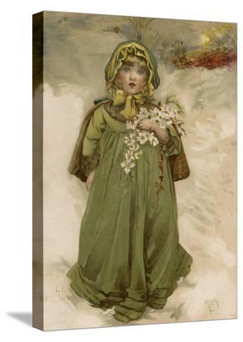 A Small Girl Carries an Armful of Christmas Roses Through the Snow--Stretched Canvas Print