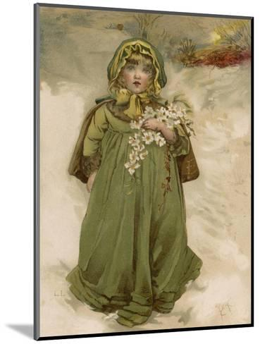A Small Girl Carries an Armful of Christmas Roses Through the Snow--Mounted Giclee Print