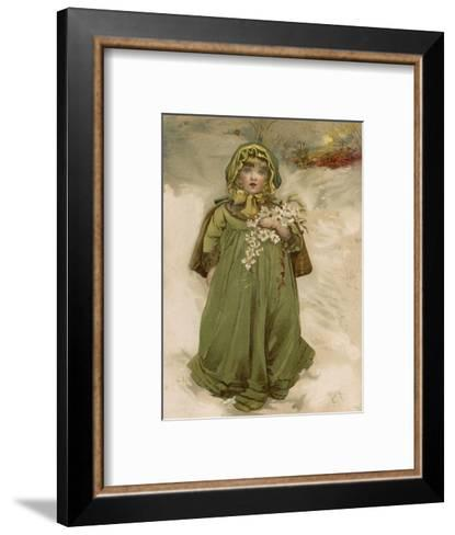 A Small Girl Carries an Armful of Christmas Roses Through the Snow--Framed Art Print