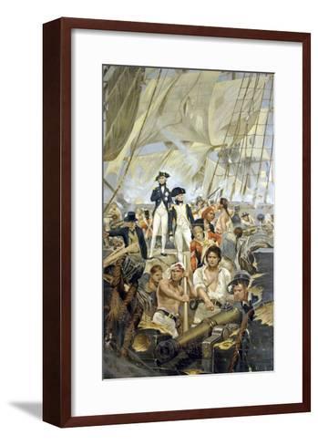 Admiral Nelson and Captain Hardy During Trafalgar--Framed Art Print