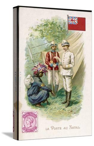 A Native Postman Delivers Mail to a British Officer Serving in Natal--Stretched Canvas Print