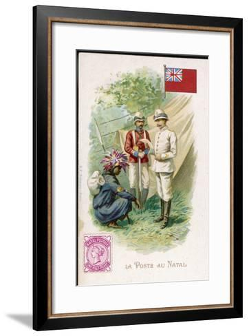 A Native Postman Delivers Mail to a British Officer Serving in Natal--Framed Art Print