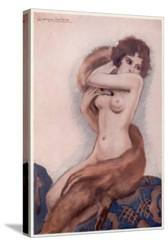 Aseated Naked Woman Wraps a Fox Fur around Her Body--Stretched Canvas Print