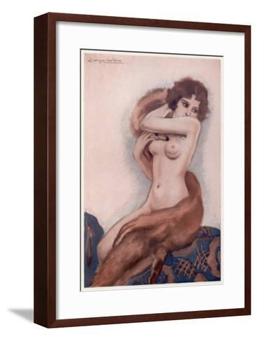 Aseated Naked Woman Wraps a Fox Fur around Her Body--Framed Art Print