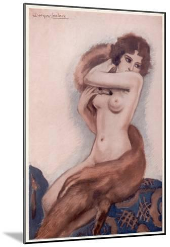 Aseated Naked Woman Wraps a Fox Fur around Her Body--Mounted Giclee Print