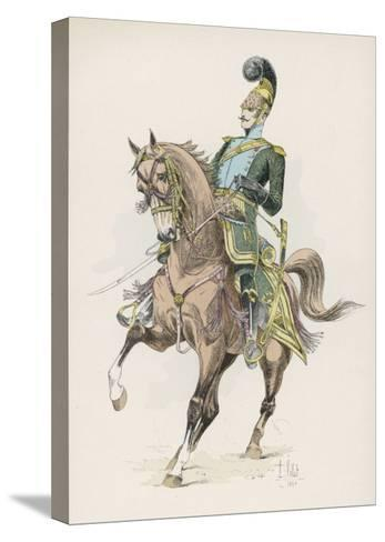 A Russian Cossack of the Imperial Guard on Horseback with Lance--Stretched Canvas Print