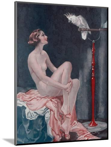 A Naked Woman Relaxing While Speaking to Her Cockatoo--Mounted Giclee Print