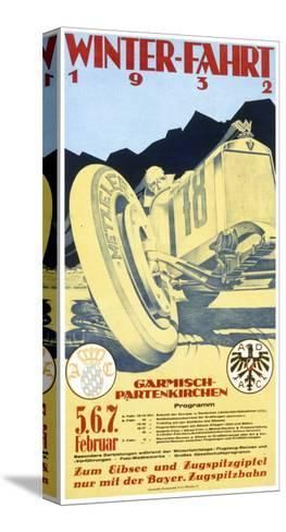 Advertisement for the Garmisch Partenkirchen Winter Motor Racing Festival 5Th-7th February 1932--Stretched Canvas Print