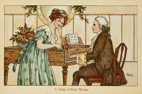 An 18th Century Couple Gaze Deeply into Each Other's Eyes over a Harpsichord--Stretched Canvas Print