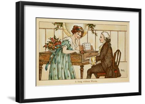 An 18th Century Couple Gaze Deeply into Each Other's Eyes over a Harpsichord--Framed Art Print