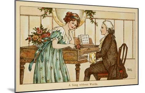 An 18th Century Couple Gaze Deeply into Each Other's Eyes over a Harpsichord--Mounted Giclee Print