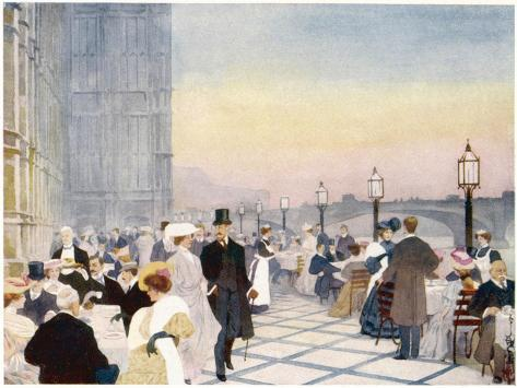 Afternoon Tea on the Terrace of the House of Commons, Westminster, London--Stretched Canvas Print