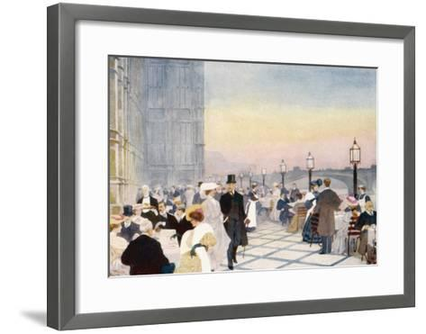 Afternoon Tea on the Terrace of the House of Commons, Westminster, London--Framed Art Print