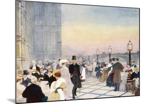 Afternoon Tea on the Terrace of the House of Commons, Westminster, London--Mounted Giclee Print