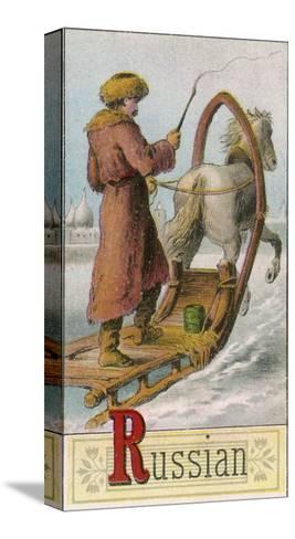A Russian Man Driving a Horse-Drawn Sleigh--Stretched Canvas Print