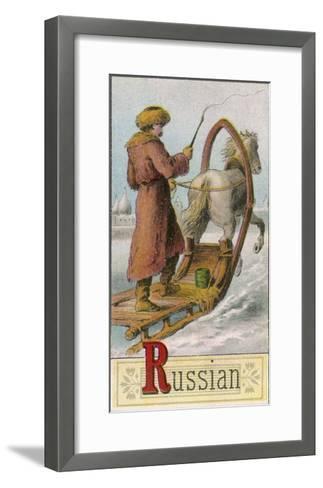 A Russian Man Driving a Horse-Drawn Sleigh--Framed Art Print