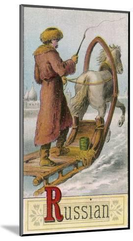 A Russian Man Driving a Horse-Drawn Sleigh--Mounted Giclee Print