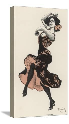 An Italian Dances the Tarantella--Stretched Canvas Print