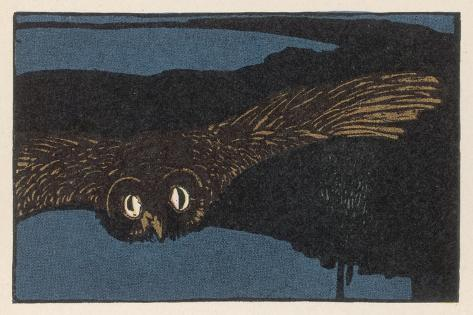 An Owl Staring at You at Night--Stretched Canvas Print