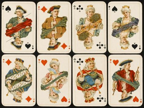 An Assortment of Playing Cards: Kings, Queens and Knaves--Stretched Canvas Print