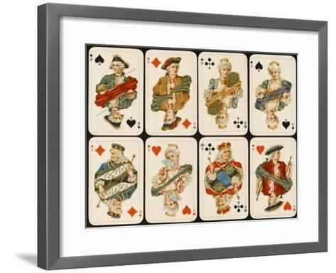 An Assortment of Playing Cards: Kings, Queens and Knaves--Framed Art Print