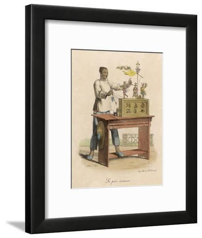 A Street Puppet Show. the Automaton Figures are Operated by a Set of Strings--Framed Art Print