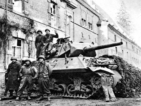 American Tank Destroyer at Stavelot; Second World War--Stretched Canvas Print