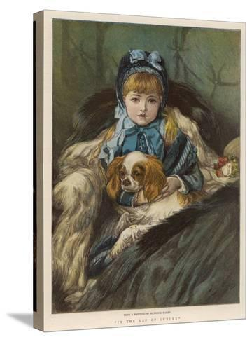 A Well-Wrapped Up Little Girl in a Carriage Holds Her Charley in Her Lap--Stretched Canvas Print