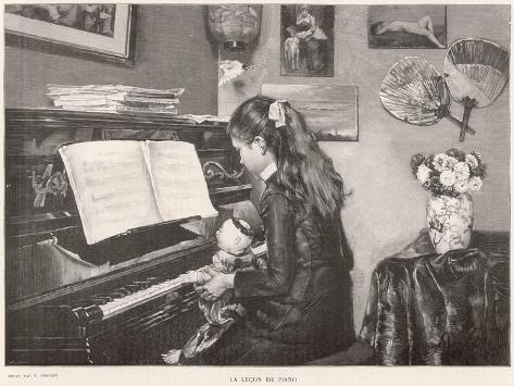 A Young Girl Sits Her Doll on Her Lap and 'teaches' it to Play the Piano--Stretched Canvas Print