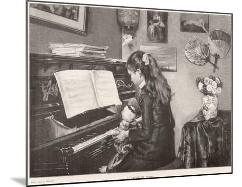 A Young Girl Sits Her Doll on Her Lap and 'teaches' it to Play the Piano--Mounted Giclee Print